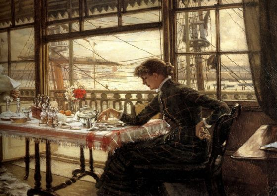 Tissot, James Jacques Joseph: Room Overlooking The Harbour. Fine Art Print/Poster. Sizes: A4/A3/A2/A1 (001638)